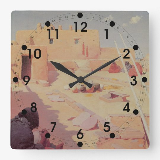 American Indian Square Wall Clock
