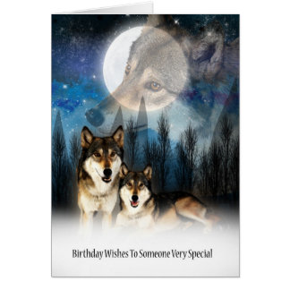 American Indian Style Wolf Birthday Card