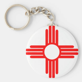 American Indian Sun Symbol Basic Round Button Key Ring