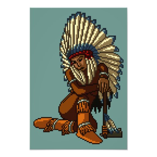 American Indian Woman Feather Tomahawk Pixel Photograph