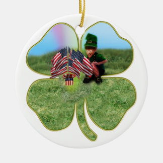 American Irish Leprechaun Round Ceramic Decoration