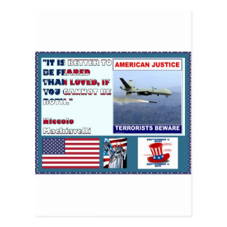 American Justice Airforce Drone Terrorists Beware Postcard