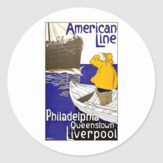 American Line Travel Poster Design Classic Round Sticker