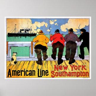 American Line Vintage Steamship Advertisement Poster