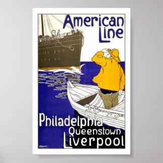 AMERICAN LINE - Vintage Travel Poster