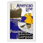 AMERICAN LINE - Vintage Travel Poster Design Greeting Card