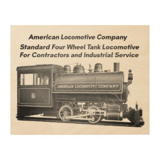 American Locomotive Company 0-4-0 T Wood Wall Art