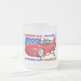 American Made Sports Car Frosted Glass Mug
