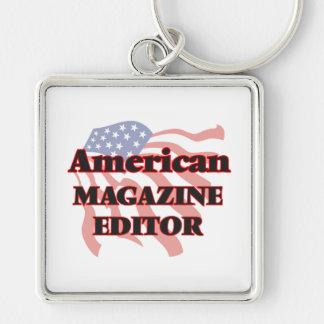 American Magazine Editor Silver-Colored Square Key Ring