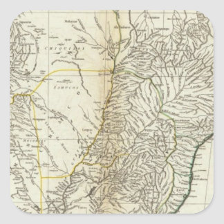 American Map Engraved Central Section Square Sticker