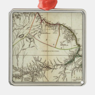 American Map Engraved Northern Section Silver-Colored Square Decoration