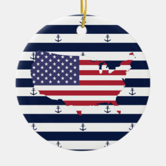 American map flag | nautical stripes pattern christmas ornament