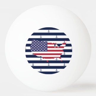 American map flag | nautical stripes pattern ping pong ball