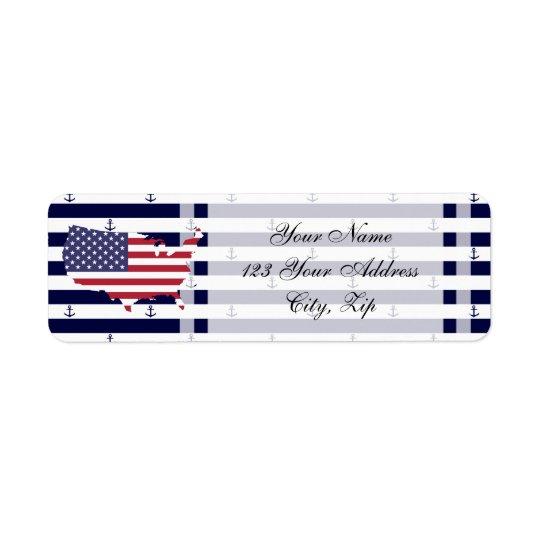 American map flag   nautical stripes pattern return address label