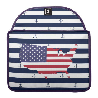 American map flag | nautical stripes pattern sleeve for MacBook pro
