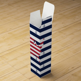 American map flag | nautical stripes pattern wine bottle box