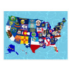 American Map State Flags Mosaic Postcard