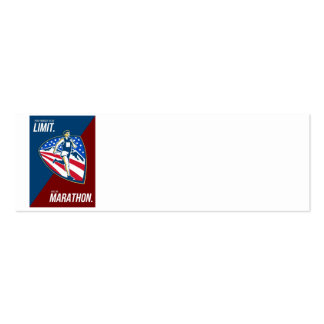 American Marathon Runner Push Limits Retro Poster Business Card Template