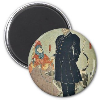 American merchant strolling by Utagawa,Sadahide 6 Cm Round Magnet