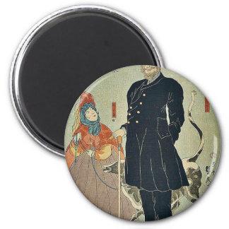 American merchant strolling by Utagawa,Sadahide Magnets