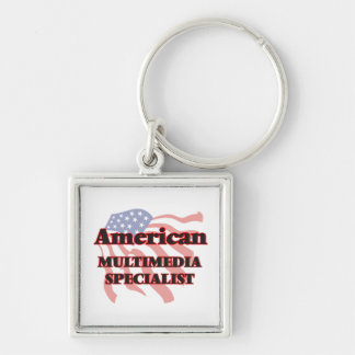 American Multimedia Specialist Silver-Colored Square Key Ring