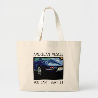 American muscle car, classic and vintage blue V8 Jumbo Tote Bag