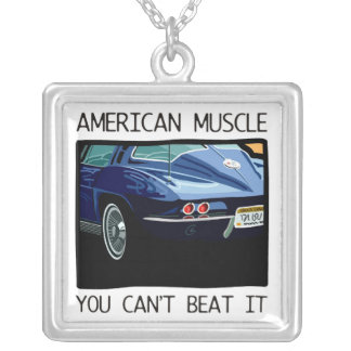 American muscle car, classic and vintage blue V8 Silver Plated Necklace
