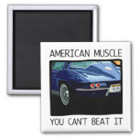 American muscle car, classic and vintage blue V8 Square Magnet