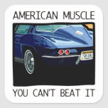 American muscle car, classic and vintage blue V8 Sticker