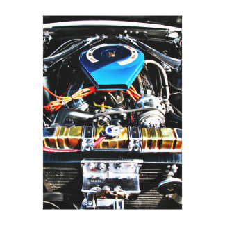 American Muscle Car Engine Gallery Wrapped Canvas