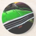 american muscle  cars charger green. beverage coasters