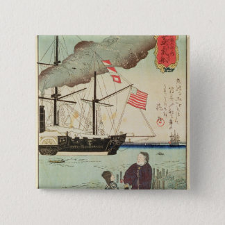 American naval vessel in a Japanese harbour 15 Cm Square Badge