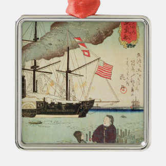 American naval vessel in a Japanese harbour Christmas Ornament
