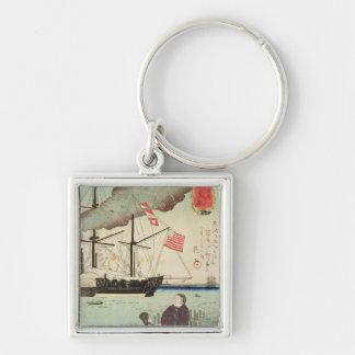 American naval vessel in a Japanese harbour Key Ring