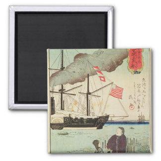 American naval vessel in a Japanese harbour Fridge Magnet