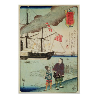 American naval vessel in a Japanese harbour Poster
