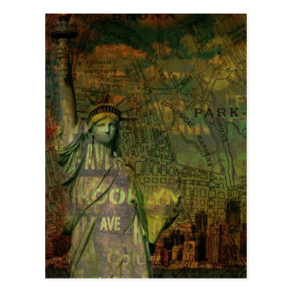 American New York Map Statue Of Liberty Postcard