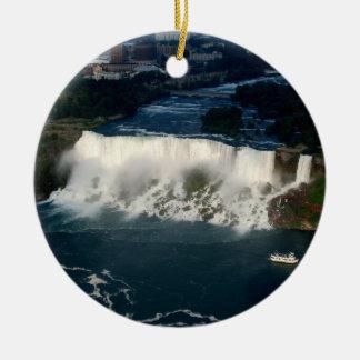 American Niagara Falls: Aerial View from Skylon Round Ceramic Decoration