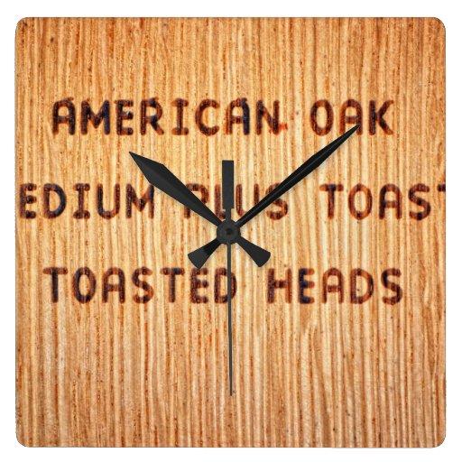 American Oak Wine Barrel Stamp Wallclock