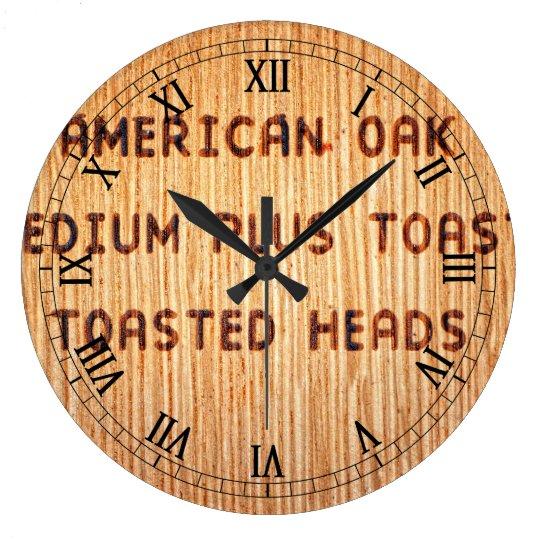 American Oak Wine Barrel Stamp Large Clock
