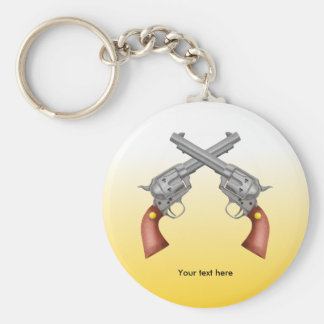 American Old West Revolvers Crossed Vintage Basic Round Button Key Ring