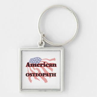American Osteopath Silver-Colored Square Key Ring