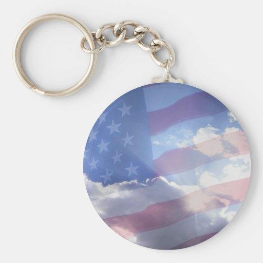 American Patriot Basic Round Button Key Ring