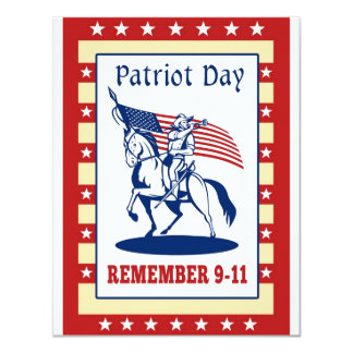 "American Patriot Day Remember 911  Greeting Card 4.25"" X 5.5"" Invitation Card"