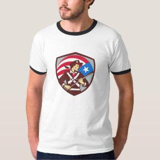 American Patriot Holding Brandish USA Flag Crest R T-shirt