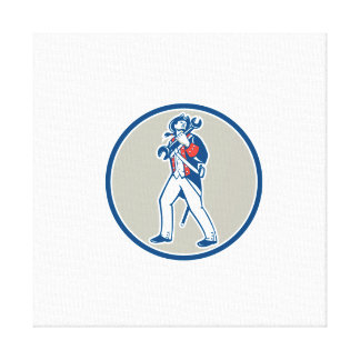 American Patriot Holding Wrench Marching Retro Gallery Wrap Canvas