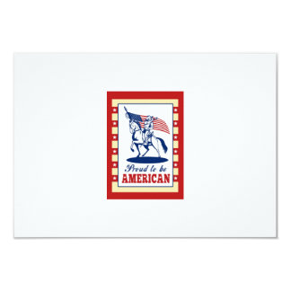 American Patriot Independence Day Poster Greeting 3.5x5 Paper Invitation Card