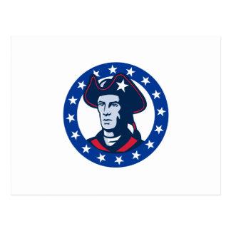 american patriot minuteman stars retro postcard