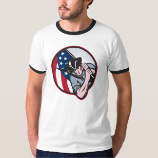 American Patriot Minuteman With Flag T-Shirt
