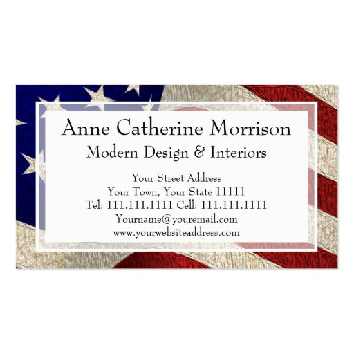 American patriot vintage stars and stripes us flag double for Patriotic business card template